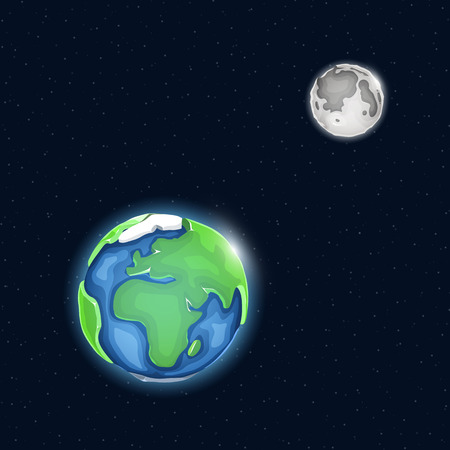 Earth and moon system in space. Vector illustration.