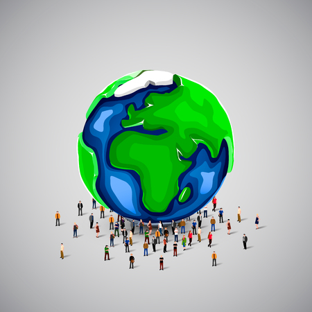 crowd happy people: People crowd under big earth planet. Vector illustration