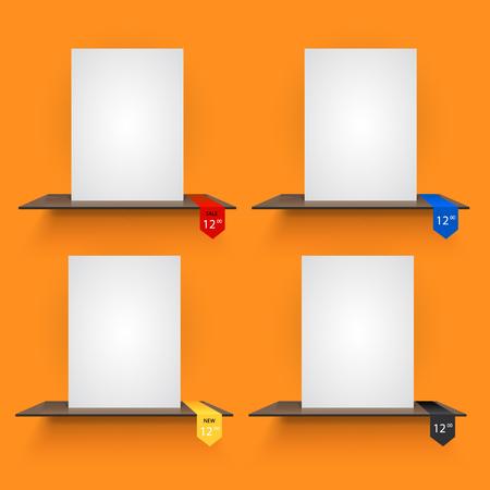 book shelves: Book shelves with lables on light orange background. Vector illustration