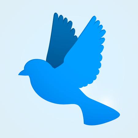 communicate  isolated: Flat blue bird. Social media concept. Vector illustration
