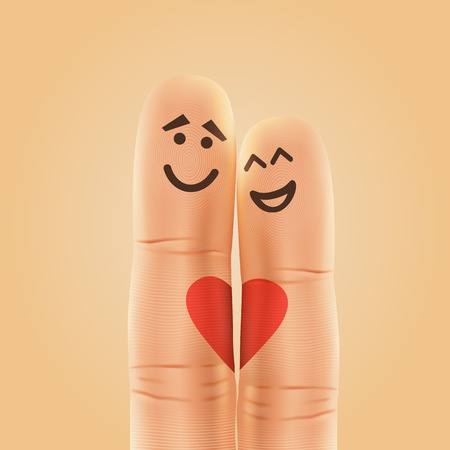 happy family: Pair of happy fingers smiley in love. Vector illustration