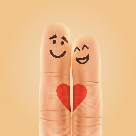 juntos: Par de dedos sonriente feliz en el amor. ilustración vectorial Vectores