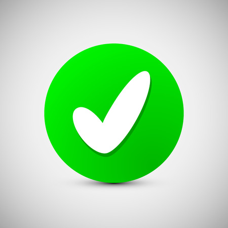 approval button: Check mark sign icon. Ok, Accept, Valid icon button. Check confirm icon. Vector illustration