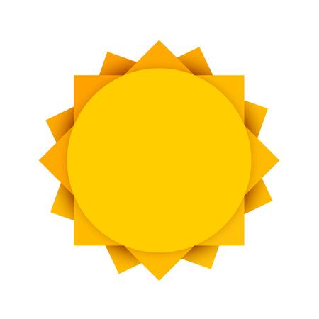Resumen sol amarillo. Limpie el icono del sol. Sol de verano. Sun en el fondo blanco. Ilustración del vector.