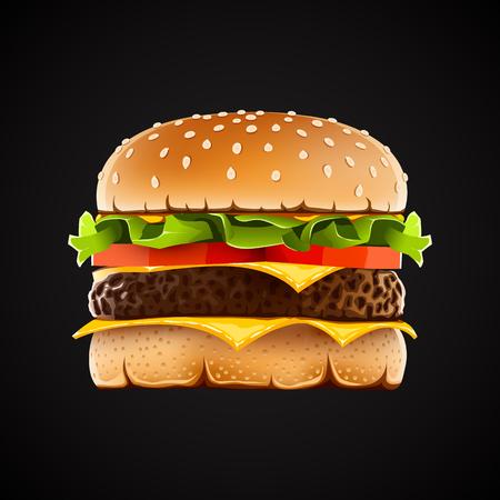 トマトとチーズのサラダの現実的なハンバーガー。ベクトル図