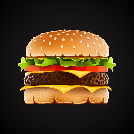 Realistic hamburger with cheese salad and tomato. Vector illustration Иллюстрация