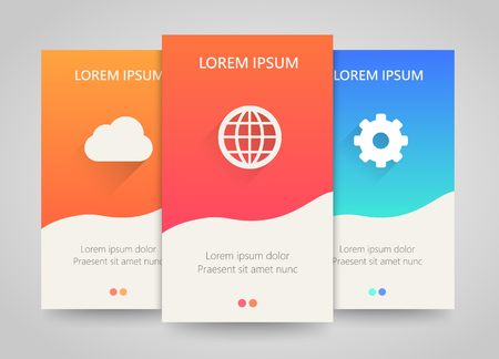 vertical banner: Modern colorful vertical business banners. Clean and simple flyer set with planet, cloud and gear signs. Bright backgrounds. Vector illustration