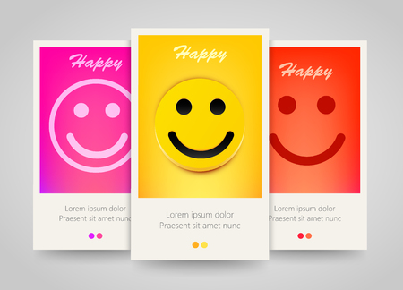 smiling faces: Modern colorful vertical smiling face banners. Happy flyer set. Bright backgrounds. Vector illustration