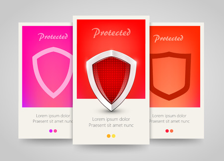 protecting your business: Modern colorful vertical protection motive banners. Abstract flyer set with shields. Safety concept background. Vector illustration