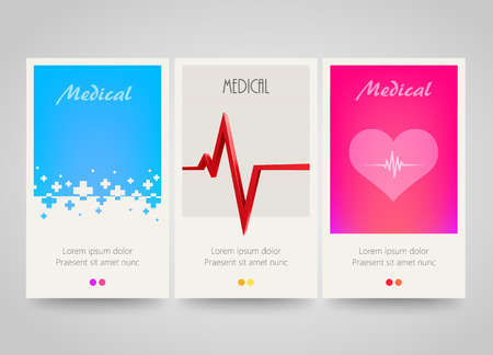health care: Modern colorful vertical medical banners. Abstract flyer set. Medicine background. Vector illustration