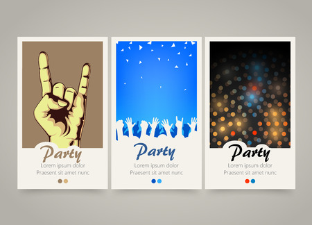 DAnce background: Modern colorful vertical music party banners. Party night flyer set. Backgrounds with people crowd hands, rock and roll sign, night lights. Dance or musical performance invitation. Vector illustration