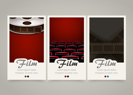 cinema film: Modern colorful vertical cinema banners. Film, movie flyer or invitations set. Backgrounds with film tape, cinema theater armchairs and tape roll. Decoration for cinema tickets. Vector illustration Illustration