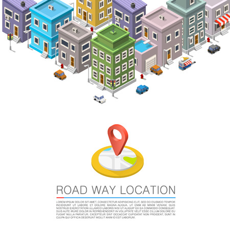 city location: Road in the cityscape Isometric, City location apartment Illustration