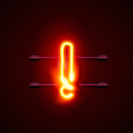 exclamatory: Neon font letter exclamatory sign art design.