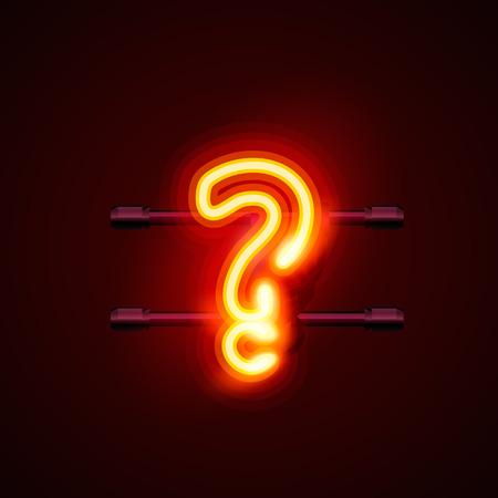 neon sign: Neon font letter question sign art design. Illustration