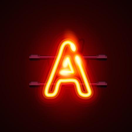 neon font: Neon font letter a, art design. Vector illustration Illustration
