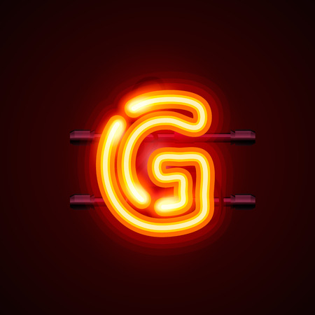 art show: Neon font letter g, art design. Vector illustration Illustration