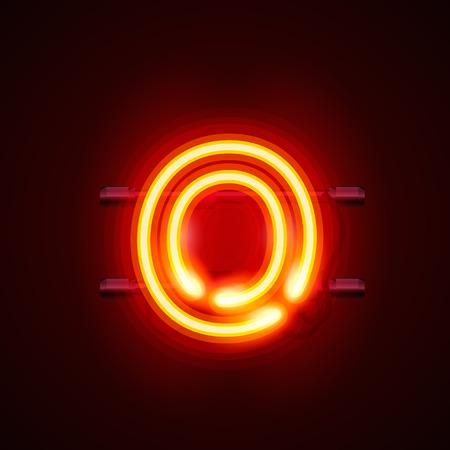 police Neon lettre o, la conception de l'art. Vector illustration