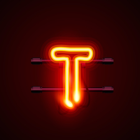 t bulb: Neon font letter t, art design. Vector illustration