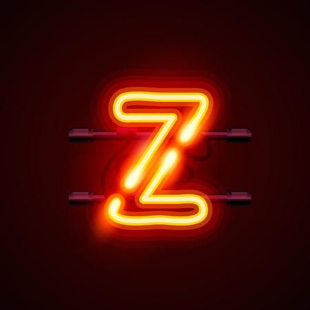 neon font: Neon font letter z, art design. Vector illustration Illustration