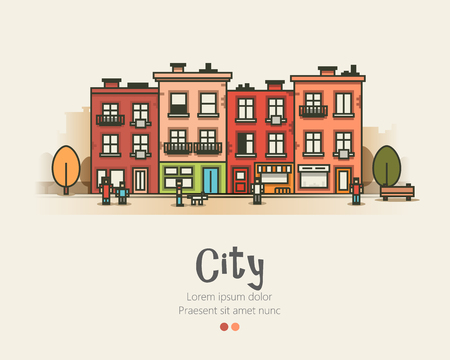 city landscape: Flat design modern urban landscape and city life. Building people and trees. Vector illustration