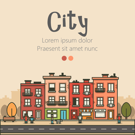 urban building: Flat design modern urban landscape and city life background. Building, people, trees and road. Vector illustration