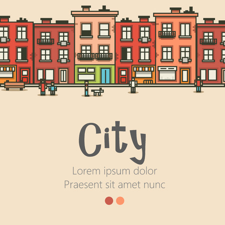 city live: Flat design modern urban landscape and city life background. Building, people and trees. Vector illustration
