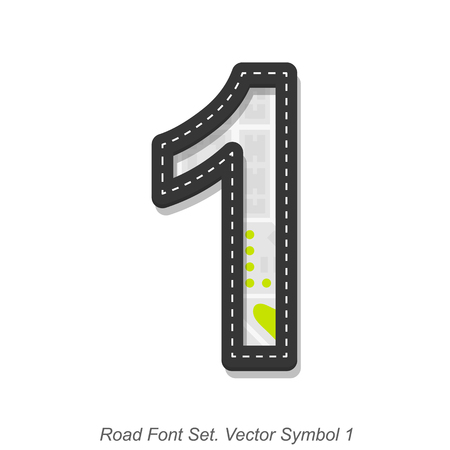 1 object: Road font sign, Symbol 1, Object on a white background, Vector illustration