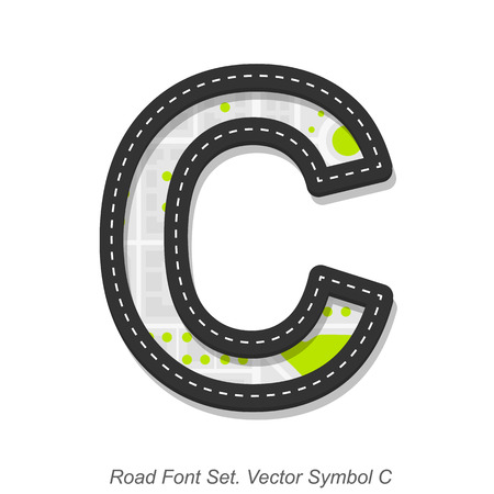 street symbols: Road font sign, Symbol C, Object on a white background, Vector illustration