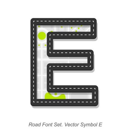 street symbols: Road font sign, Symbol E, Object on a white background, Vector illustration Illustration