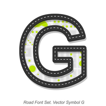 道路フォント標識、記号 G、白い背景、ベクター グラフィックのオブジェクト