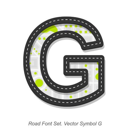 Road font sign, Symbol G, Object on a white background, Vector illustration