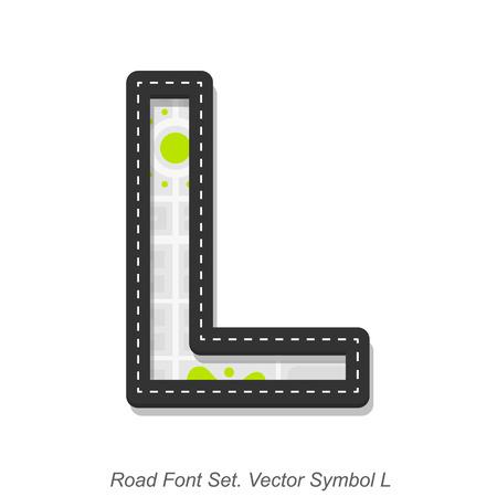 l background: Road font sign, Symbol L, Object on a white background, Vector illustration Illustration