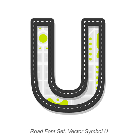 street symbols: Road font sign, Symbol U, Object on a white background, Vector illustration Illustration