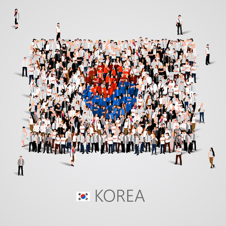 Large group of people in the shape of flag. Korea. Vector illustration