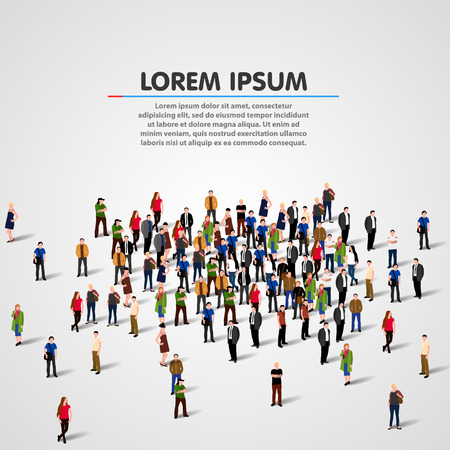 Big people crowd on white background. Vector illustration. Vectores