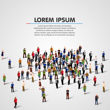 network people: Big people crowd on white background. Vector illustration. Illustration
