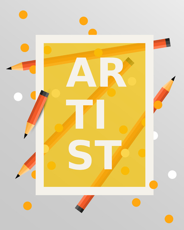 artistic: Art design elements. Vector illustration. Background with pencils. Artistic concept Illustration