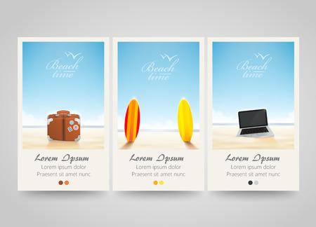 Travel banner set with surf, laptop, bag. Poster, flyer or ticket design. Vector illustration