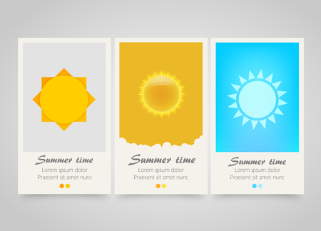 travel backgrounds: Modern colorful vertical sun banners. Summer flyer set. Bright backgrounds with sun signs. Summer party or travel tickets . Vector illustration