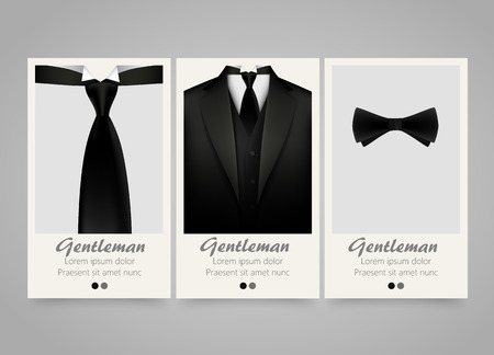 Modern colorful vertical official clothing banners. Wedding ceremony invitation, official meeting,or fashion flyer set. Backgrounds with tuxedo, tie and bow. Vector illustration Illustration