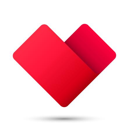 heart sign: Heart ribbon sign 3d logo red icon, Vector illustration