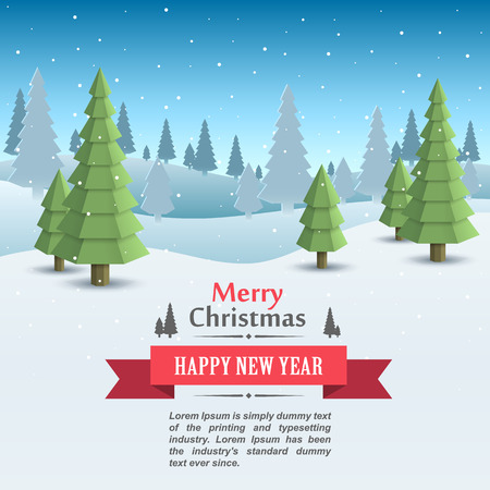 snow landscape: Mary christmas cover art, Happy new year background