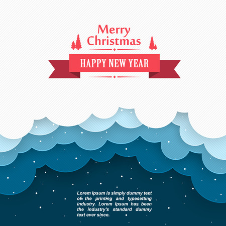 christmas cover: Christmas snow background, Marry Christmas cover, Happy new year, Winter background clouds Illustration