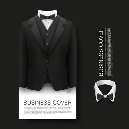 complimentary: Tuxedo cover background. Cover Business. Complimentary ticket, Suit 3d object, Vector illustration