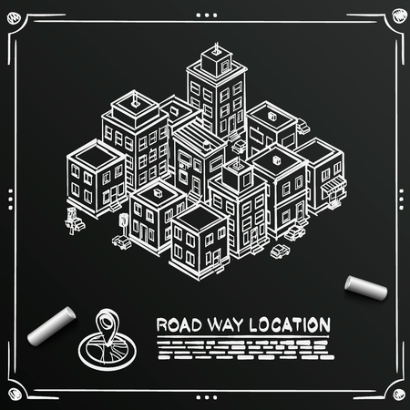 city location: Chalkboard sketch Road in the cityscape Isometric, Drawing city location apartment Illustration