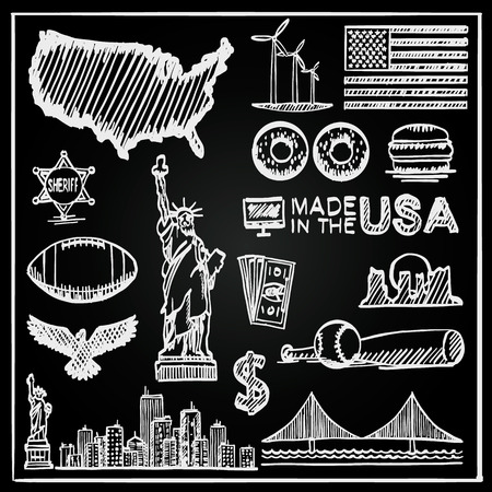 eagle canyon: Chalkboard Collection of icons of the United States, America sketch set, Usa collection sign Illustration