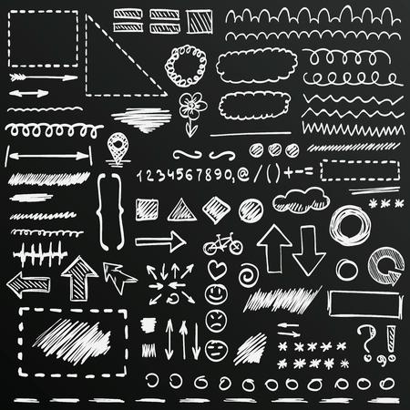 Chalkboard sketch of hand drawn signs set