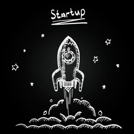 idea sketch: Chalkboard sketch rocket startup, Creative idea startup