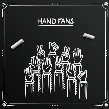raised: Chalkboard sketch fans hands up background cover